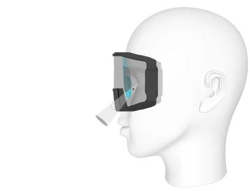 L'insert optique permet d'utiliser des verres progressifs et d'éviter toutes déformations à travers le masque.