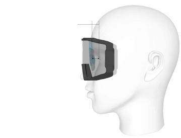 L'insert optique avec le nez permet de respecter la distance verre-oeil et le centrage optique et d'éviter les déformations prismatiques.