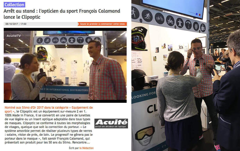 """Interview de François Calamand par Acuité TV sur le salon SILMO à Paris: Clipoptic® nominé aux Silmo d'Or 2017 dans la catégorie """"Equipement de sport""""."""