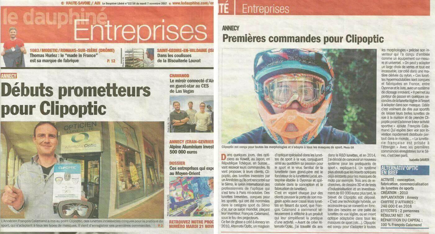 Article dans Le Dauphiné Entreprises sur le Clipoptic® qui permet de mettre à la vue tous les masques de sport, en s'adaptant aussi à toutes les morphologies.