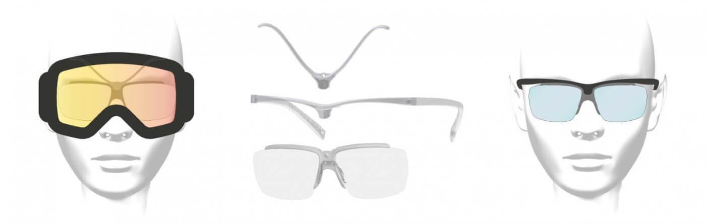 Clipoptic®: une paire de lunettes de vue légère et incassable convertible en quelques secondes en insert ou clip optique universel pour adapter tous les masques à la vue.