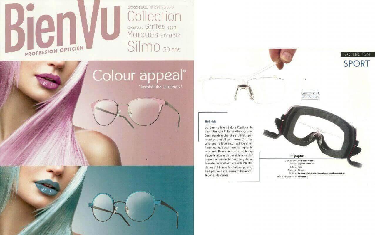 Parution dans Bien Vu pour les opticiens, Clipoptic®: une paire de lunettes de vue légère et incassable convertible en insert optique pour tous les types de masques.