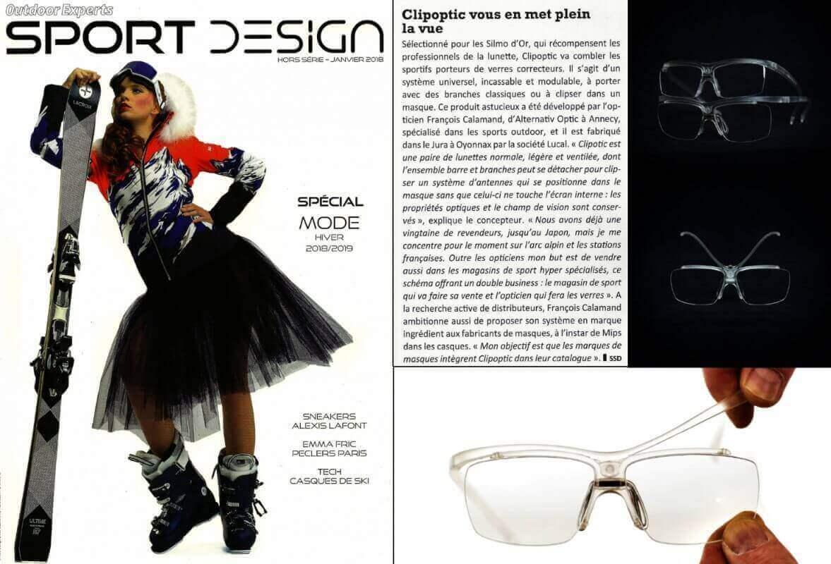 Article dans Sport Design sur le clip optique universel pour tous les sportifs porteurs de lunettes.