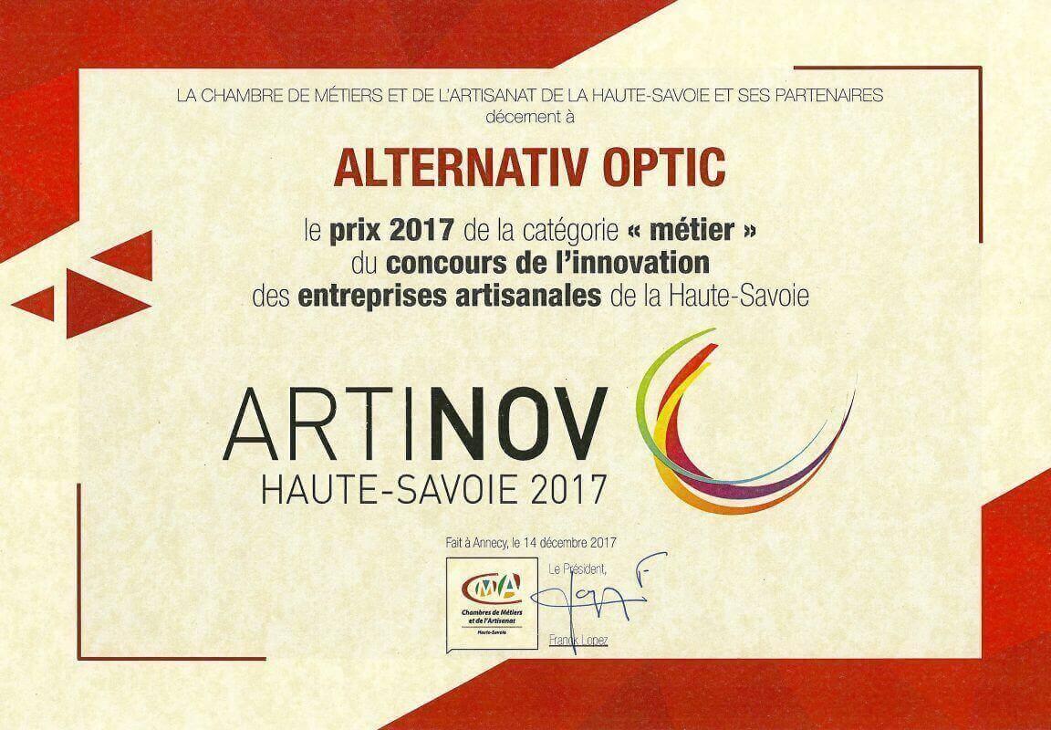 """Alternativ'Optic reçoit le prix 2017 de la catégorie """"métier"""" du concours de l'innovation des entreprises artisanales de la Haute-Savoie pour son innovation Clipoptic®."""