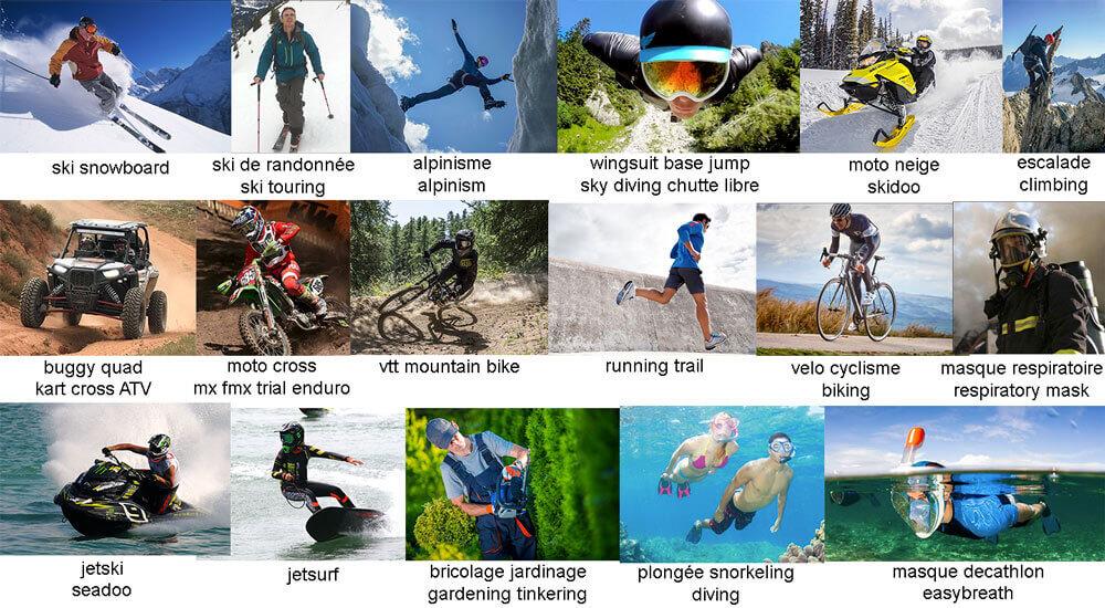 Clipoptic se porte en lunettes ou en insert optique selon les activités: ski, snowboard, randonnée, alpinisme, base jump, moto neige, vélo, trail, VTT, motocross, plongée, jet ski, masques respiratoires et masque Décathlon easybreath.
