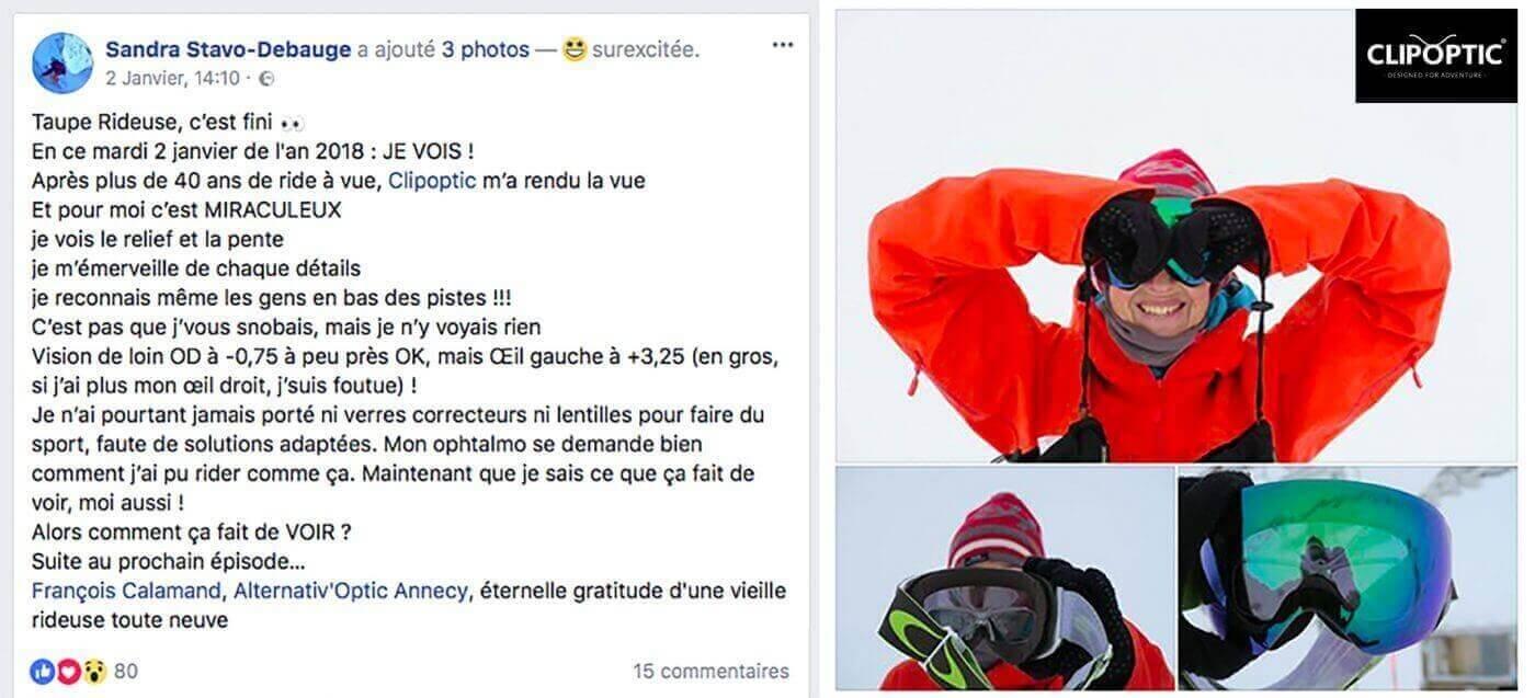 Témoignage de Sandra Stavo Debauge qui a choisi l'insert optique Clipoptic® pour adapter son masque de ski à sa vue.